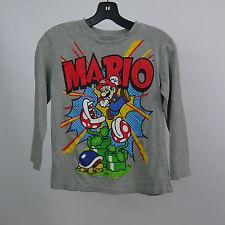 SUPER MARIO Boys Medium 7/8 Gray Long Sleeve Graphic Tee Shirt