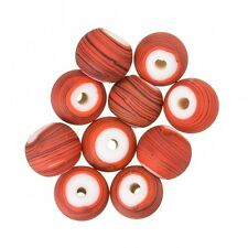 Matte Red Striped Round Glass Bead (8mm) - Pack of 10 (A56/2)