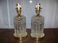 "2x Lamps Clear Press Cut Glass 11"" tall Table Vanity Boudoir Lights Beautiful"