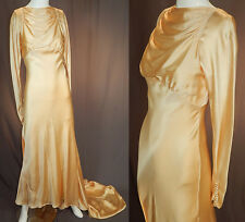 Vintage 1930s Cream Silk Charmeuse Bias Cut Wedding Gown Dress Long Train Skirt