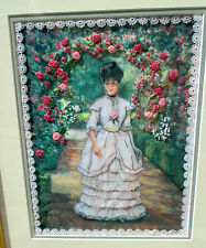 Vintage Handmade Needlepoint Cross Stitch Victorian Lady Framed Art Finished