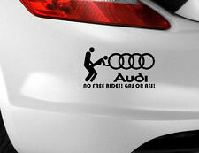 Audi No Free Gass or Ass Car Sticker Funny Novelty Label EURO JDM/Bumper/Decal