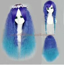 Women Lolita Green Blue Mixed Cosplay Party Anime Long Curly Wavy Full Wigs+Cap