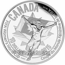 Canada 2015 FIFA Women's World Cup Soccer #5 Celebration $10 Pure Silver Proof
