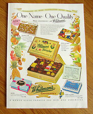1953 Whitman's Sampler Candy Ad  One Name One Quality
