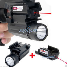 Set Red Laser Sight &Bright CREE LED Flashlight For Hunting Pistol Gun Top Sale