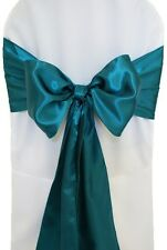 "100 Dark Teal Satin Chair Cover Sash Bows 6"" x 108"" Banquet Wedding Made in USA"