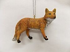 Red Fox Life Like Figurine Christmas Tree Ornament Resin Mat 3 1/2x2 In String