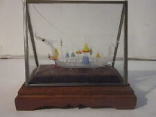 VINTAGE HAND SPUN GLASS CHINESE CEREMONIAL DRAGON BOAT IN DISPLAY CASE