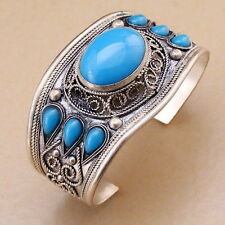 Unisex Gift Charm Turquoise Stone Bead Cuff Bracelet Bangle Tibet Silver Flower