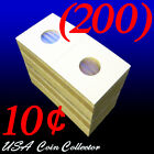 (200) Dime Size 2x2 Mylar Cardboard Coin Flips for Storage | Holder - 10 Cents