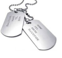Army Dog Tags Personalised Name Necklace, 18K White Gold Plated, Gift, UK