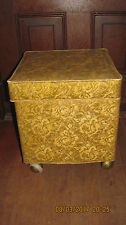 Vtg 1970's Sewing Footstool Ottoman Storage Box, FILLED With Patterns Supplies