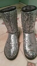 IRREGULAR SILVER SEQUIN GLITTER SPARKLY BOOTS LOW HEELS SIZE 5 CELEBS CHOICE