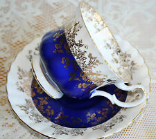 Royal Albert, Cobalt Blue, White and Gold Gilt teacup and saucer, Regal Series