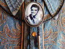 NEW LARGE ELVIS PRESLEY BOLO TIE SILVER METAL, LEATHER CORD WESTERN ROCKABILLY