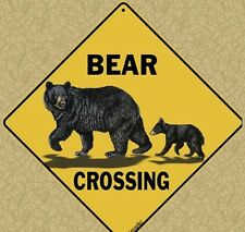 """BEAR FAMILY Crossing Sign, 12"""" on sides, 16"""" on diagonal, Indoor/Out-Aluminum"""
