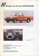 Mazda B-Series Pickup B2000 B2200 1985 Original Swedish Specification Brochure
