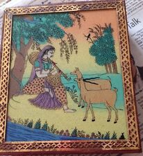 Trinket Box India Or Persia; Brass Wood Reverse Glass Painting; Flutist And Deer