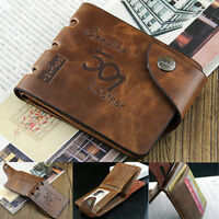 Men Genuine Cowboy Leather Bifold Wallet Multi Clutch Pocket Purse