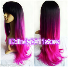 New Fashion ladies women Long pink black mixed wavy hair cosplay party wig