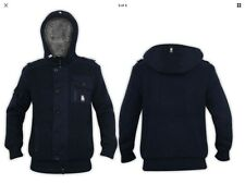 Mens Crosshatch Faux Fur Lined Knitted Hood Zipper NAVY BLUE Winter Jacket SMALL