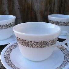Pyrex Corelle Woodland Brown Round Bottom Cups & Saucers 4 Sets