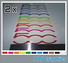 2 x Fiat 500 Logo Vinyl Decals / Stickers Side Skirt / Boot / Bonnet 500c Abarth