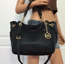 NWT MICHAEL KORS BLACK LARGE SOFT PEBBLED LEATHER CHAIN TOTE SHOULDER BAG PURSE