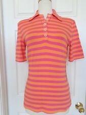 LIZZIE DRIVER striped stretchy polo shirt leisure wear golf size S London new