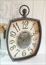 New Vintage Clock Distressed Antique Glass Hanging Metal French Carriage