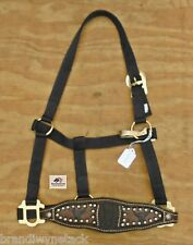 Custom Handmade bronc noseband w/ cow skull on black halter NEW
