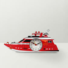 Cute Ship Shaped Desktop Alarm Clock for Kids, Living room and Home Decor - Red