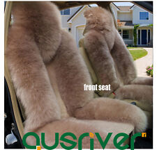 Premium Quality Coffe 4Pcs Australian Sheep Skin Car Long Wool Seat Cover Set