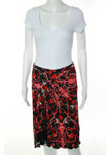 ROBERTO CAVALLI Black Red White Floral Pleated Front Detail Skirt Sz 8