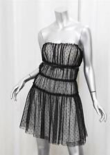 DOLCE & GABBANA Womens Black+White Sheer Polka-Dot Sleeveless Dress 46/10 NEW