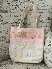 Canvas Woman's Tote Bag Hand-Sewn Accents VTG Dollies Old Lace Chic Shabby