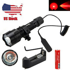 NEW 3000LM Red Beam Q5 LED Rechargeable Flashlight Torch Light Lamps+Mount+18650