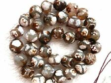 genuine Tibetan Dzi Agate round faceted 8mm football gemstone beads brown white