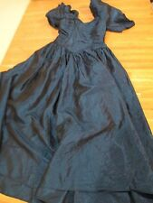 "Vintage Blue Crinkle Shiny Hand Made Prom Party Dress 80's 90's 24"" chest 45"" L"