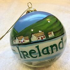 "IRELAND 3"" Round Glass Ball ORNAMENT Hand Painted Gaelic Celtic Irish GIFT BOX"