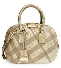 NEW $1995 Burberry Small Orchard Leather Metallic Gold Grain Check Crossbody