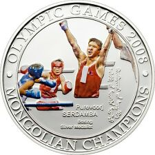 2008 Mongolia Large Silver Proof Color 500 Togrog Olympic Boxing-2