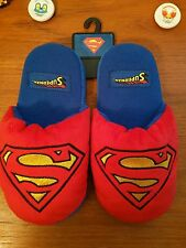 Superman Kids Mens Womens Cartoon Plush Slipper Unisex Med Red Blue DC Comics