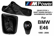 BMW E46 M POWER 6 SPEED SHIFT KNOB + HANDBRAKE + GEAR STICK GAITER BOOT LEATHER