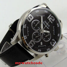 44mm parnis black dial date window swiss quartz Full chronograph mens watch P604