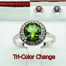 Free Shipping 16.75ct TOP WORLD Tri-Color Change Alexandrite 925 Silver Ring 9,R