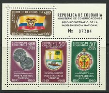 COLOMBIA. 1960. Independence Miniature Sheet. SG: MS1047. MLH.