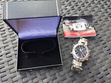 Accurist Chronograph Alarm Timer 3S10 Watch Boxed Blue Face Stainless Steel