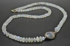 Rainbowmoonstone Necklace with Flintstone 73 cm 88 gr Regenbogenmondsteinkette
